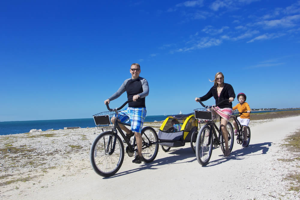 Family Riding Near the Beach